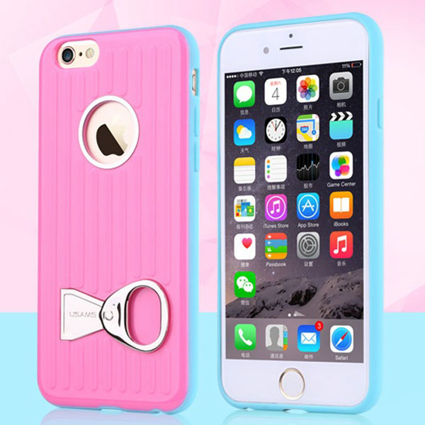USAMS Rock Series TPU and PC Hybrid Case for iPhone 6 Plus with Can Ring Kickstand (Rose)