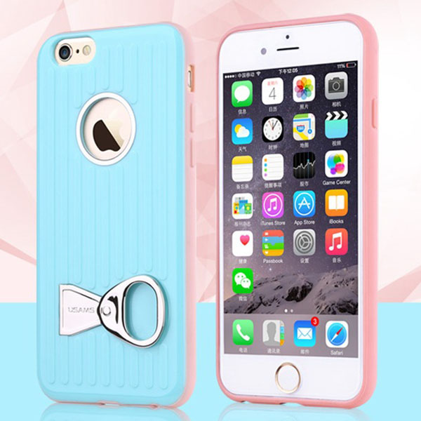 USAMS Rock Series TPU and PC Hybrid Case for iPhone 6 Plus with Can Ring Kickstand (Baby Blue)