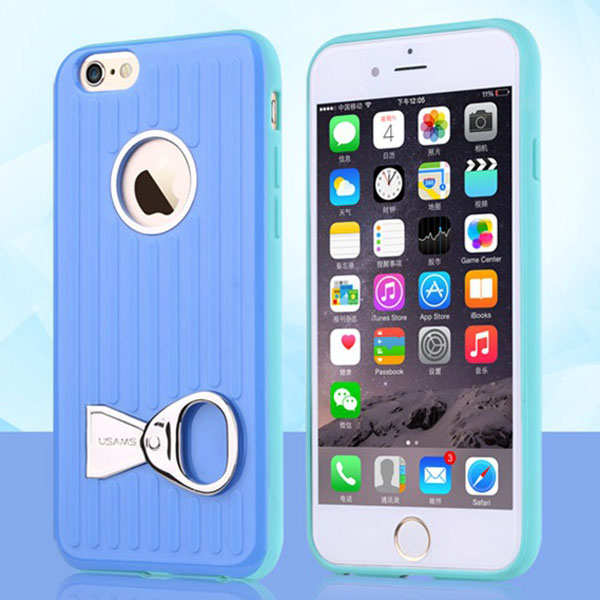 USAMS Rock Series TPU and PC Hybrid Case for iPhone 6 Plus with Can Ring Kickstand (Blue)