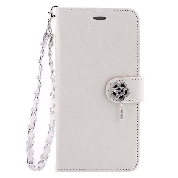 Embossed Style Diamond Buckle Leather Flip Cover for iPhone 6 Plus with Lanyard (White)