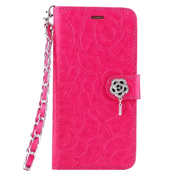 Embossed Style Diamond Buckle Leather Flip Cover for iPhone 6 Plus with Lanyard (Rose)