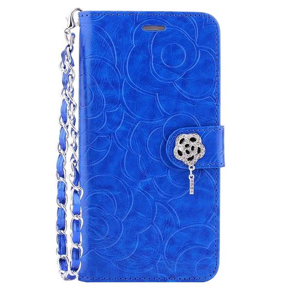 Embossed Style Diamond Buckle Leather Flip Cover for iPhone 6 Plus with Lanyard (Blue)
