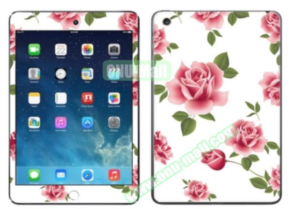 Rose Flower Pattern Decal Stickers for iPad Air 2/iPad 6 (White Background)