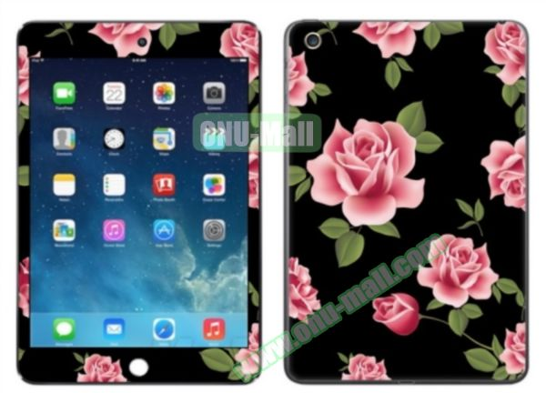 Rose Flower Pattern Decal Stickers for iPad Air 2/iPad 6 (Black Background)