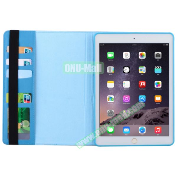 360 Degree Rotation Smart Cover Leather Case for iPad Air 2 with Holder and Card Slots (Blue)