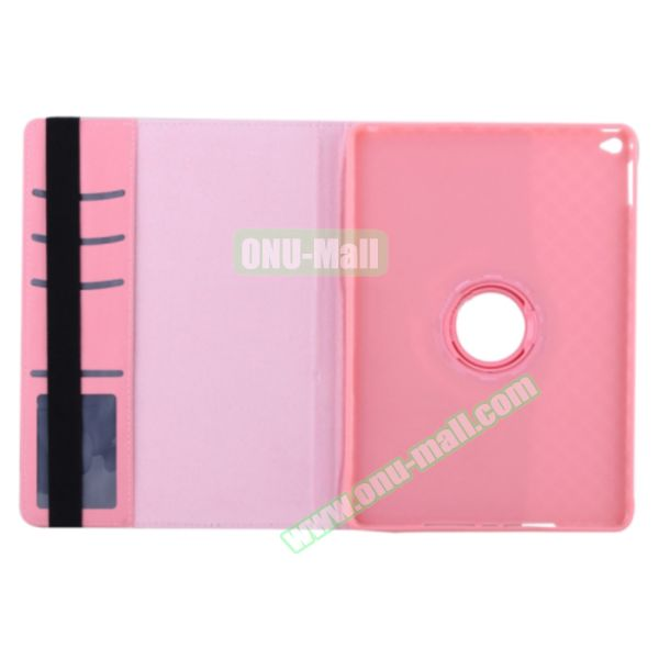 360 Degree Rotation Smart Cover Leather Case for iPad Air 2 with Holder and Card Slots (Pink)