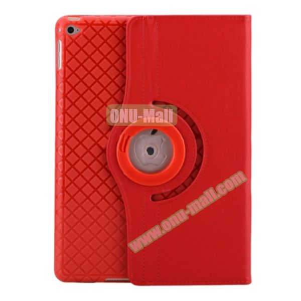 360 Degree Rotation Smart Cover Leather Case for iPad Air 2 with Holder and Card Slots (Red)