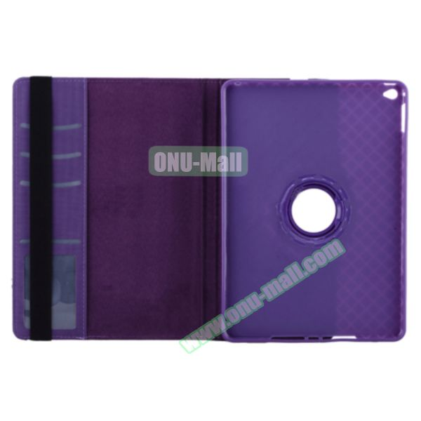 360 Degree Rotation Smart Cover Leather Case for iPad Air 2 with Holder and Card Slots (Purple)