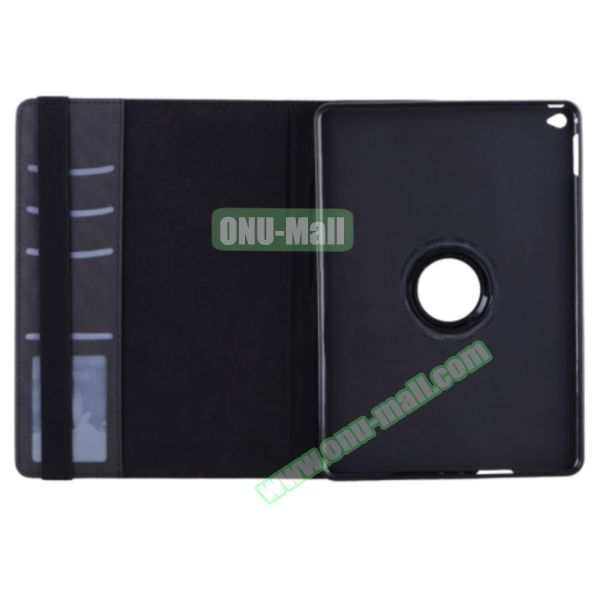 360 Degree Rotation Smart Cover Leather Case for iPad Air 2 with Holder and Card Slots (Black)