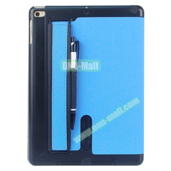 Toothpick Texture Expand Sound Handheld Smart Cover Leather Case for iPad Air 2 with Holder (Blue)