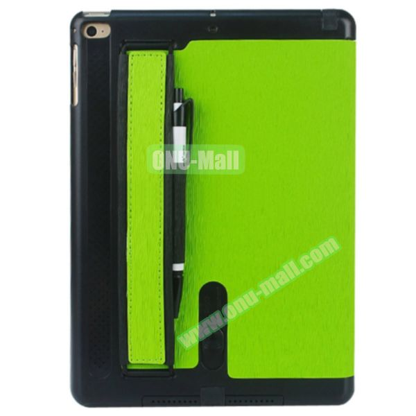 Toothpick Texture Expand Sound Handheld Smart Cover Leather Case for iPad Air 2 with Holder (Green)