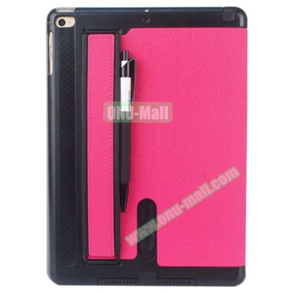 Toothpick Texture Expand Sound Handheld Smart Cover Leather Case for iPad Air 2 with Holder (Rose)