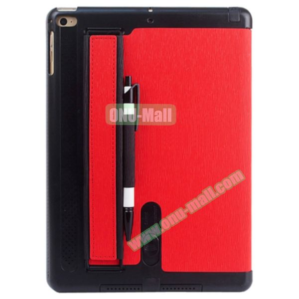 Toothpick Texture Expand Sound Handheld Smart Cover Leather Case for iPad Air 2 with Holder (Red)