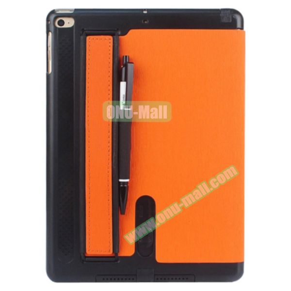 Toothpick Texture Expand Sound Handheld Smart Cover Leather Case for iPad Air 2 with Holder (Orange)