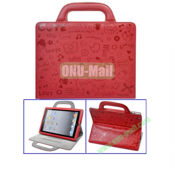 Red Lovely Magic Girl Leather Cases with Handbag Cover For The New iPad 3iPad4 iPad2