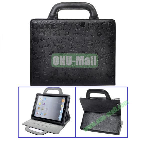 Black Lovely Magic Girl Leather Cases with Handbag Cover For The New iPad 3iPad4 iPad2