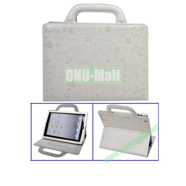 White Lovely Magic Girl Leather Cases with Handbag Cover for The New iPad 3iPad4 iPad2