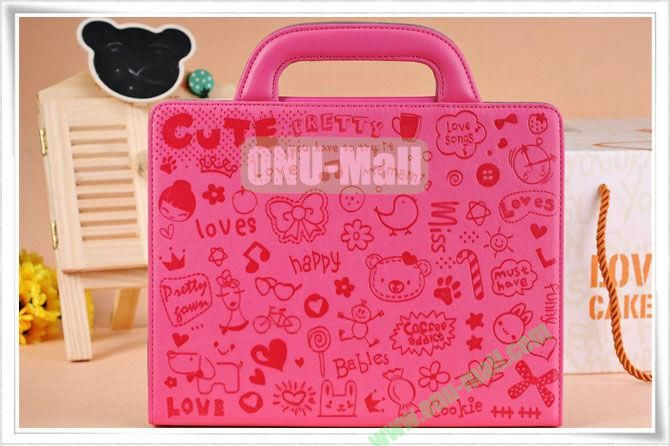 Hot Pink Lovely Magic Girl Leather Cases with Handbag Cover For The New iPad 3iPad4 iPad2