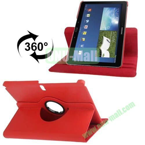 360 Degree Rotatable Litchi Texture Leather Case for Samsung Galaxy Note 10.1 (2014 Edition)  P600  with Holder (Red)