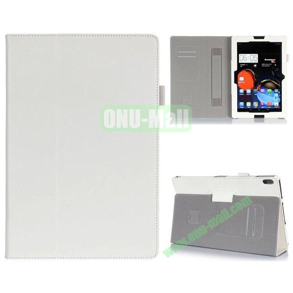 High Quality Flip Stand Leather Case for Lenovo A10-70 with Card Slots and Armband Belt (White)
