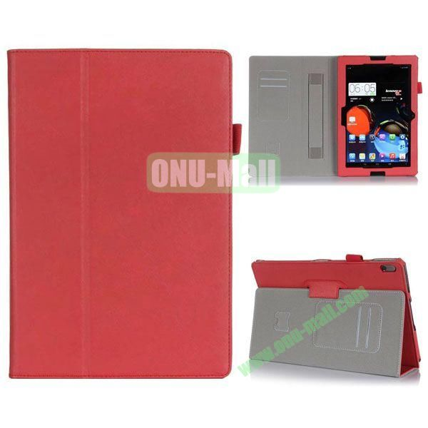 High Quality Flip Stand Leather Case for Lenovo A10-70 with Card Slots and Armband Belt (Red)