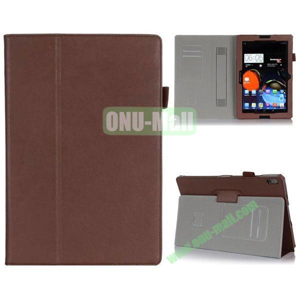 High Quality Flip Stand Leather Case for Lenovo A10-70 with Card Slots and Armband Belt (Brown)