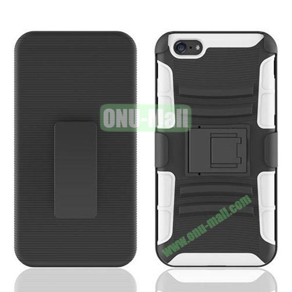 Hot Sale Snap-on Rubber Belt Clip Holster Backup Case for iPhone 6 Plus 5.5 inch (Black+White)