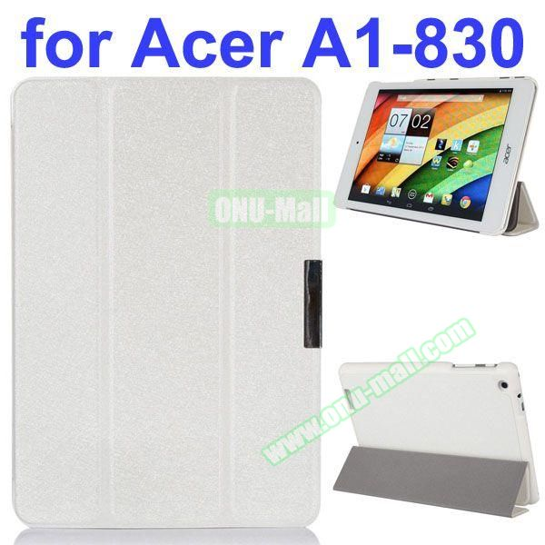 Ultrathin 3-Folding Pattern Flip Leather Case for Acer Iconia A1-830 with Holder (White)