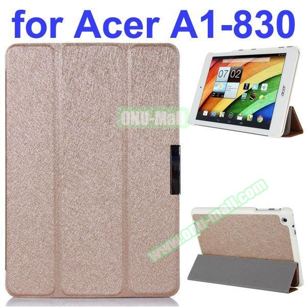 Ultrathin 3-Folding Pattern Flip Leather Case for Acer Iconia A1-830 with Holder (Gold)