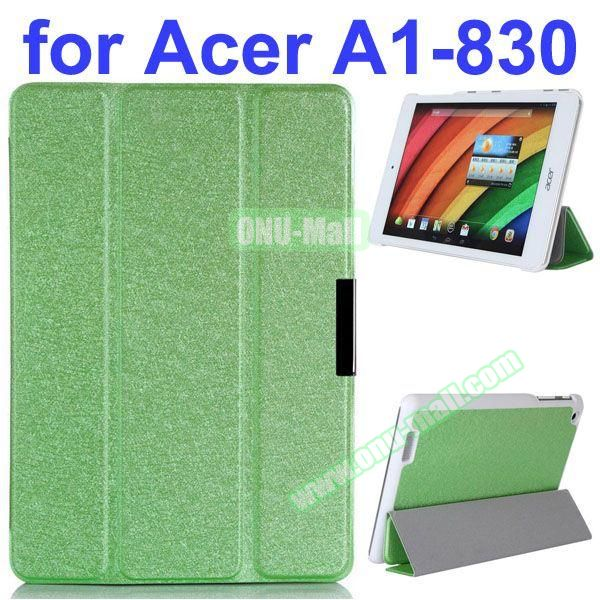 Ultrathin 3-Folding Pattern Flip Leather Case for Acer Iconia A1-830 with Holder (Green)