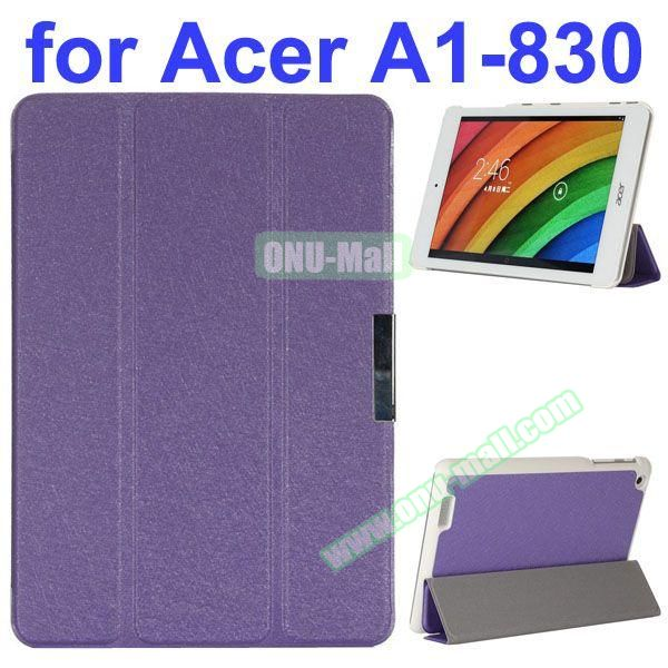 Ultrathin 3-Folding Pattern Flip Leather Case for Acer Iconia A1-830 with Holder (Purple)