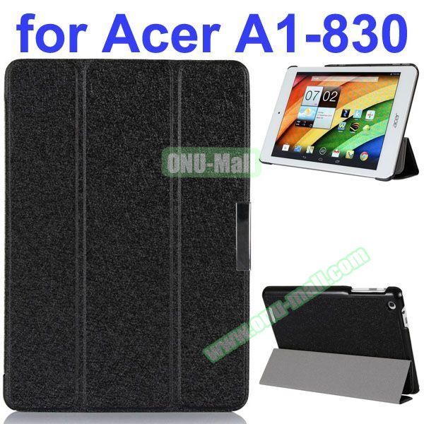 Ultrathin 3-Folding Pattern Flip Leather Case for Acer Iconia A1-830 with Holder (Black)