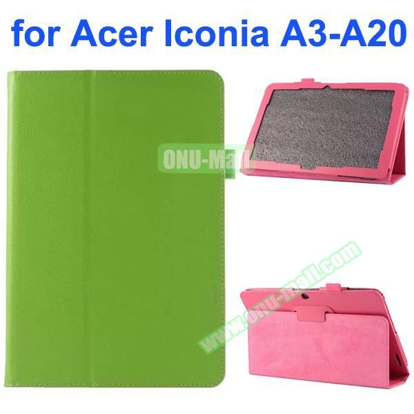 Litchi Texture 2-Folding Style PU Leather Case for Acer Iconia A3-A20 (Green)