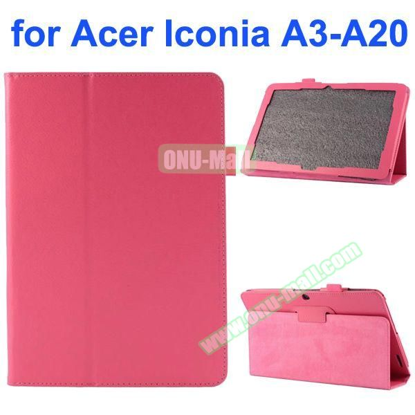 Litchi Texture 2-Folding Style PU Leather Case for Acer Iconia A3-A20 (Rose)