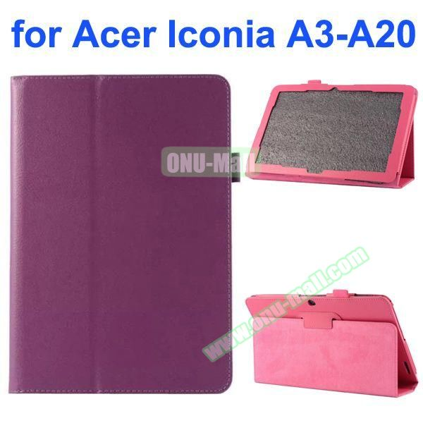 Litchi Texture 2-Folding Style PU Leather Case for Acer Iconia A3-A20 (Purple)