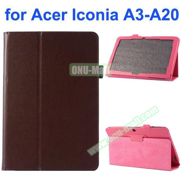 Litchi Texture 2-Folding Style PU Leather Case for Acer Iconia A3-A20 (Brown)
