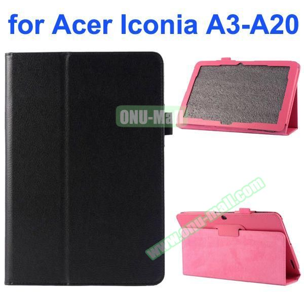 Litchi Texture 2-Folding Style PU Leather Case for Acer Iconia A3-A20 (Black)