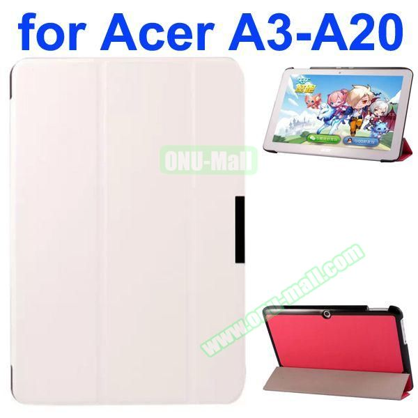 Karst Texture 3-Folding Style PU Leather Case for Acer Iconia A3-A20 (White)