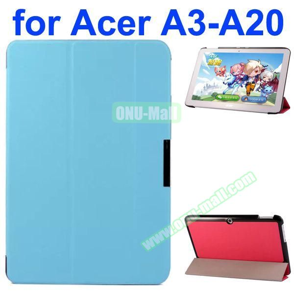Karst Texture 3-Folding Style PU Leather Case for Acer Iconia A3-A20 (Light Blue)