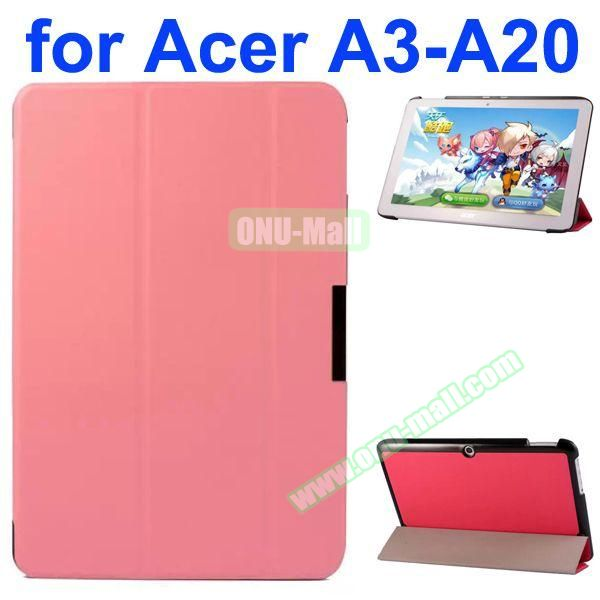 Karst Texture 3-Folding Style PU Leather Case for Acer Iconia A3-A20 (Pink)