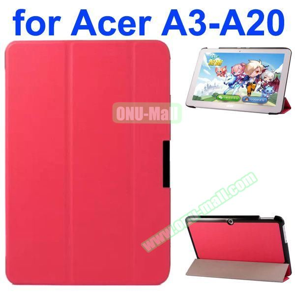 Karst Texture 3-Folding Style PU Leather Case for Acer Iconia A3-A20 (Rose)