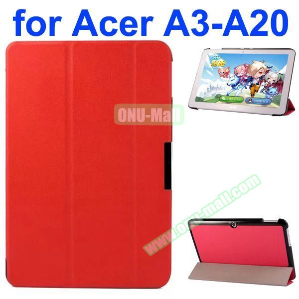Karst Texture 3-Folding Style PU Leather Case for Acer Iconia A3-A20 (Red)
