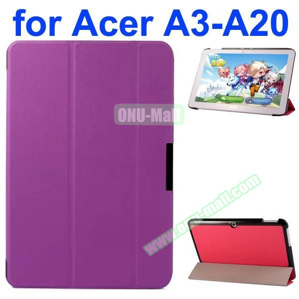 Karst Texture 3-Folding Style PU Leather Case for Acer Iconia A3-A20 (Purple)