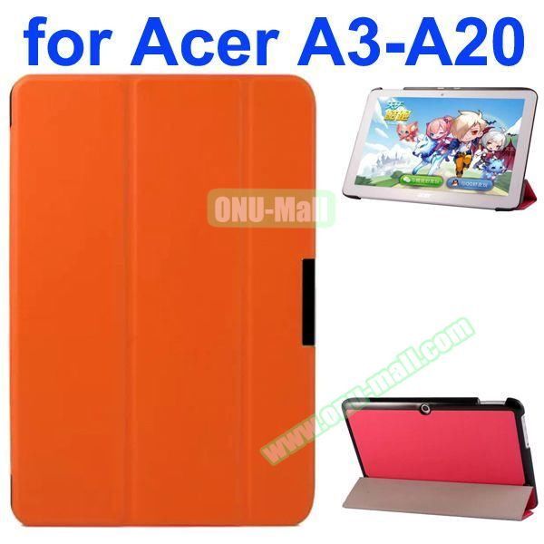 Karst Texture 3-Folding Style PU Leather Case for Acer Iconia A3-A20 (Orange)