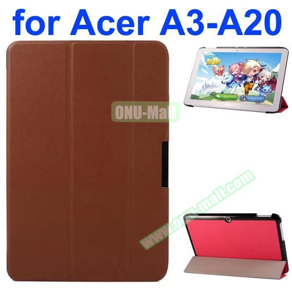Karst Texture 3-Folding Style PU Leather Case for Acer Iconia A3-A20 (Brown)