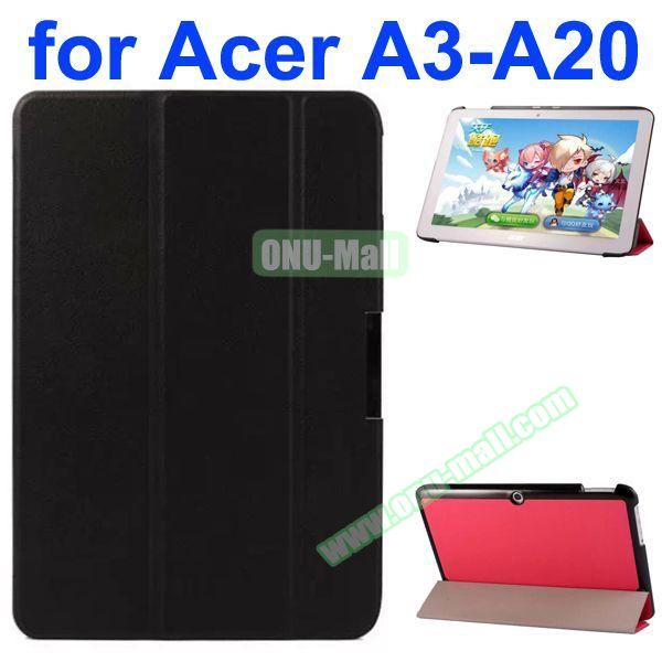 Karst Texture 3-Folding Style PU Leather Case for Acer Iconia A3-A20 (Black)