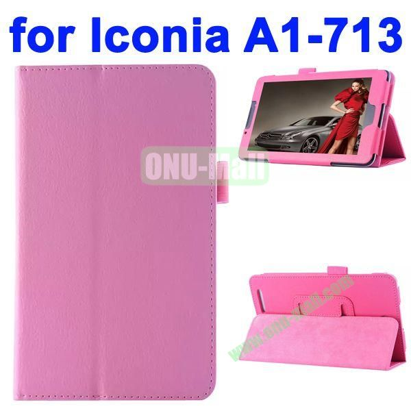 Litchi Texture Flip Stand Leather Case for Acer Iconia A1-713 (Pink)