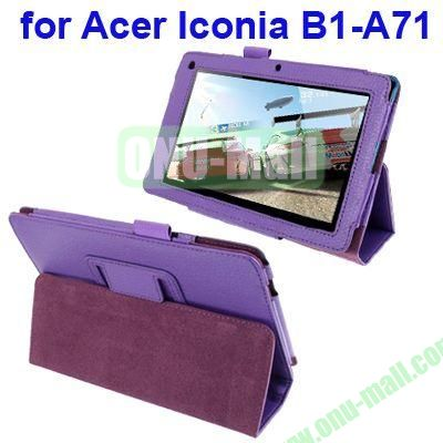 Litchi Texture Leather Case for Acer Iconia B1-A71 with Wake-up Function (Purple)