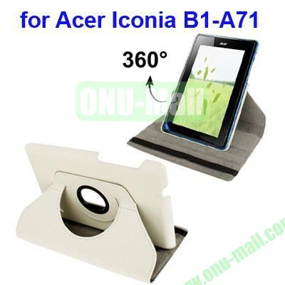 360 Degree Rotation Lichi Texture Leather Case for Acer Iconia B1-A71 with Holder (White)