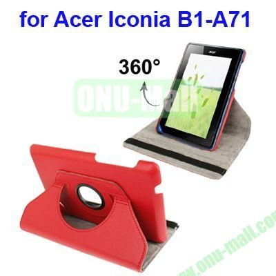 360 Degree Rotation Lichi Texture Leather Case for Acer Iconia B1-A71 with Holder (Red)